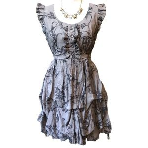 ANTHROPOLOGIE -Ruffled Floral Frilly Dress Size M